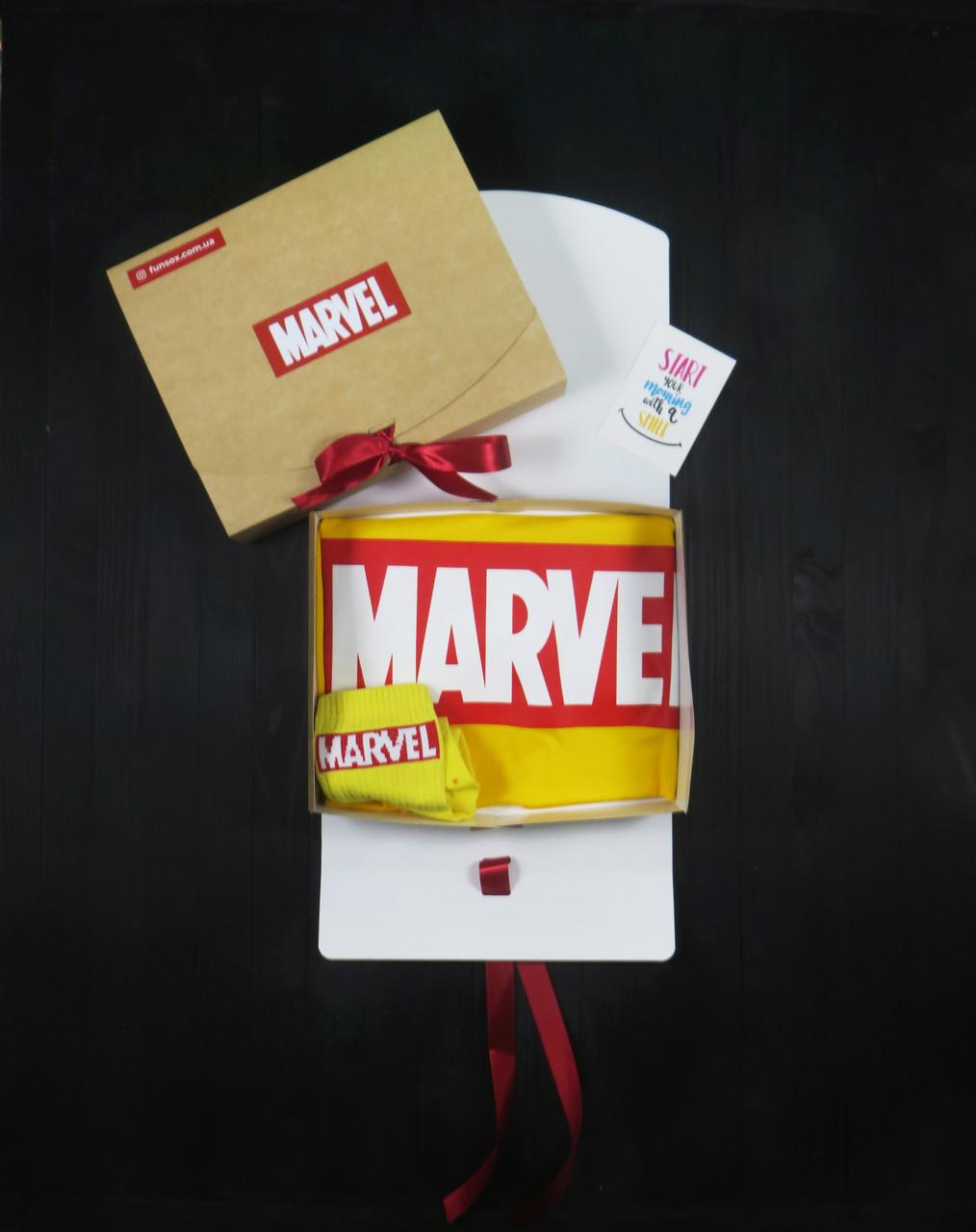 """Подарунковий набір чоловічий. Футболка жовта з принтом """"Marvel"""", шкарпетки з принтом """"Marvel"""""""