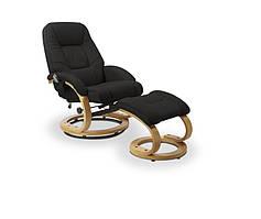 Чорне крісло з підставкою для ніг з функцією масажу MATADOR (71х76х103) Halmar