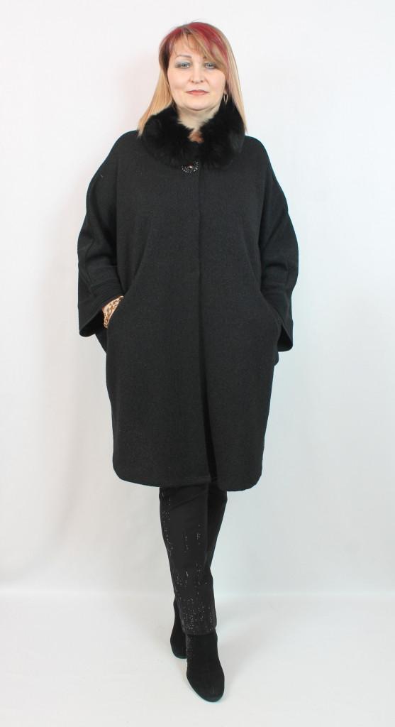 Турецкое женское пальто - пончо с мехом, больших размеров 58-72