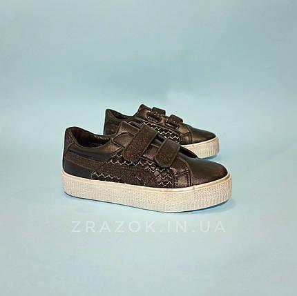 Чорні кросівки кріпери дитячі кеди сітка на липучці не оригінал, фото 2