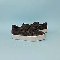 Чорні кросівки кріпери дитячі кеди сітка на липучці не оригінал, фото 3
