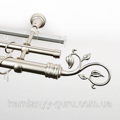 Карниз для штор тройной ø 19+16+16 мм, наконечник завиток с листком