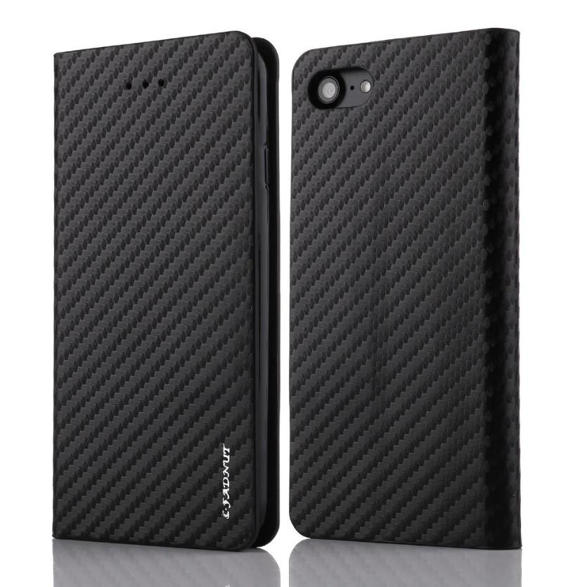 Карбоновый чехол-книжка для Apple iPhone 7 8