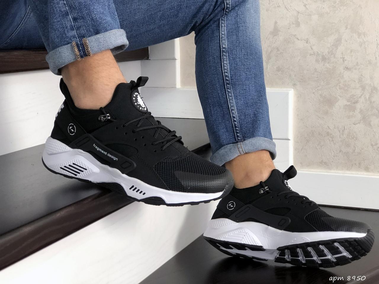Мужские кроссовки Nike Huarache Fragment Design (черно-белые) 8950