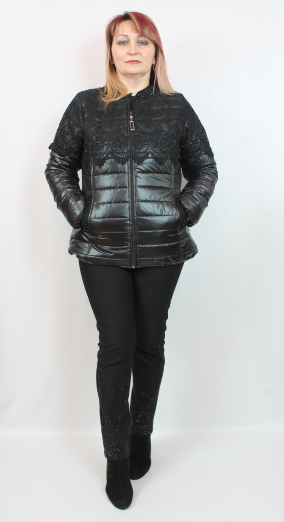 Турецкая женская короткая куртка с кружевом и жемчугом, размеры 50-64