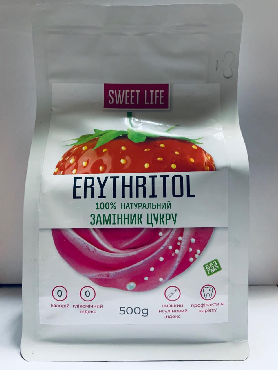 Натуральный сахарозаменитель эритритол Sweet Life Erythritol 500 g