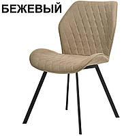 Мягкий стул M-40 бежевый на черных ножках Vetro Mebel, фото 1