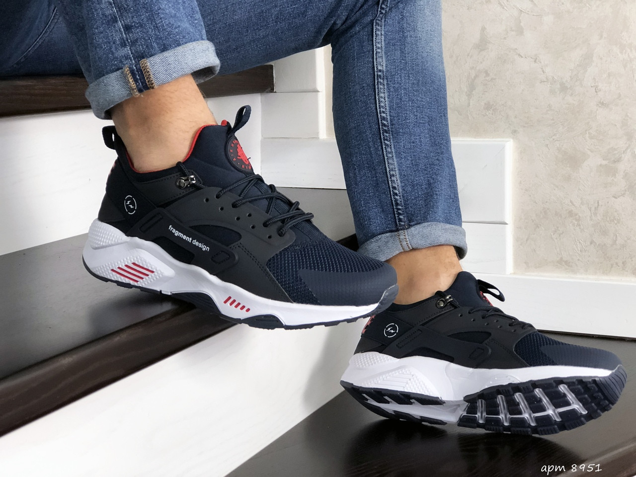 Мужские кроссовки Nike Huarache Fragment Design (темно-синие с белым) 8951