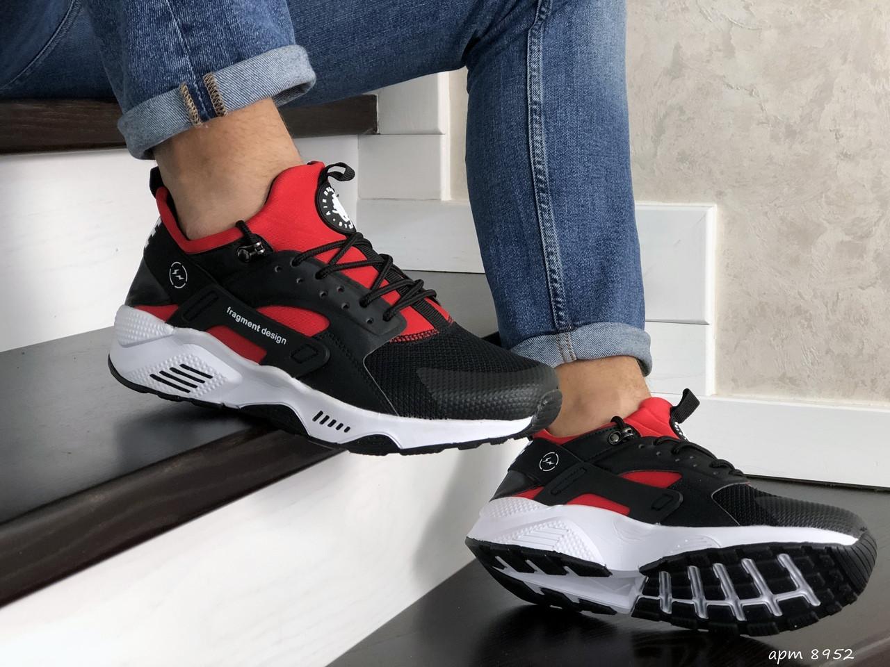 Чоловічі кросівки Nike Huarache Fragment Design (чорно-білі з червоним) 8952
