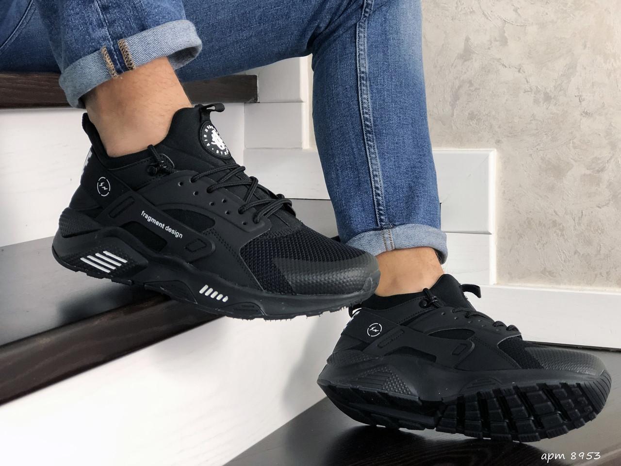 Мужские кроссовки Nike Huarache Fragment Design (черные) 8953