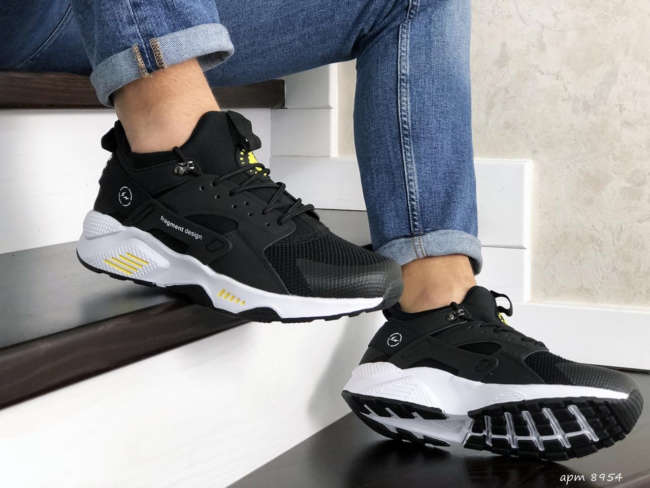 Чоловічі кросівки Nike Huarache Fragment Design (чорно-білий з жовтим) 8954