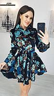 Платье женское 1168 (42-44; 44-46) (цвета: бежевый цветы, бежевый меньше цветов, черный) СП, фото 1