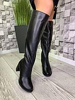 Женские кожаные зимние сапоги черные, фото 1