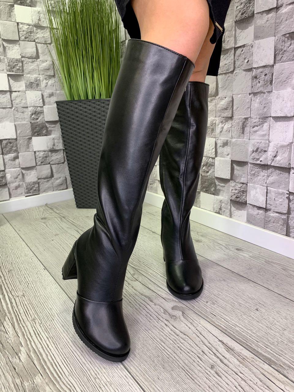 Женские кожаные зимние сапоги черные