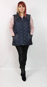 Турецкая стеганая женская жилетка с бусинами и стразами, размеры 50 52 54