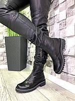 Женские ботинки из натуральной кожи флотар черные демисезонные, фото 1
