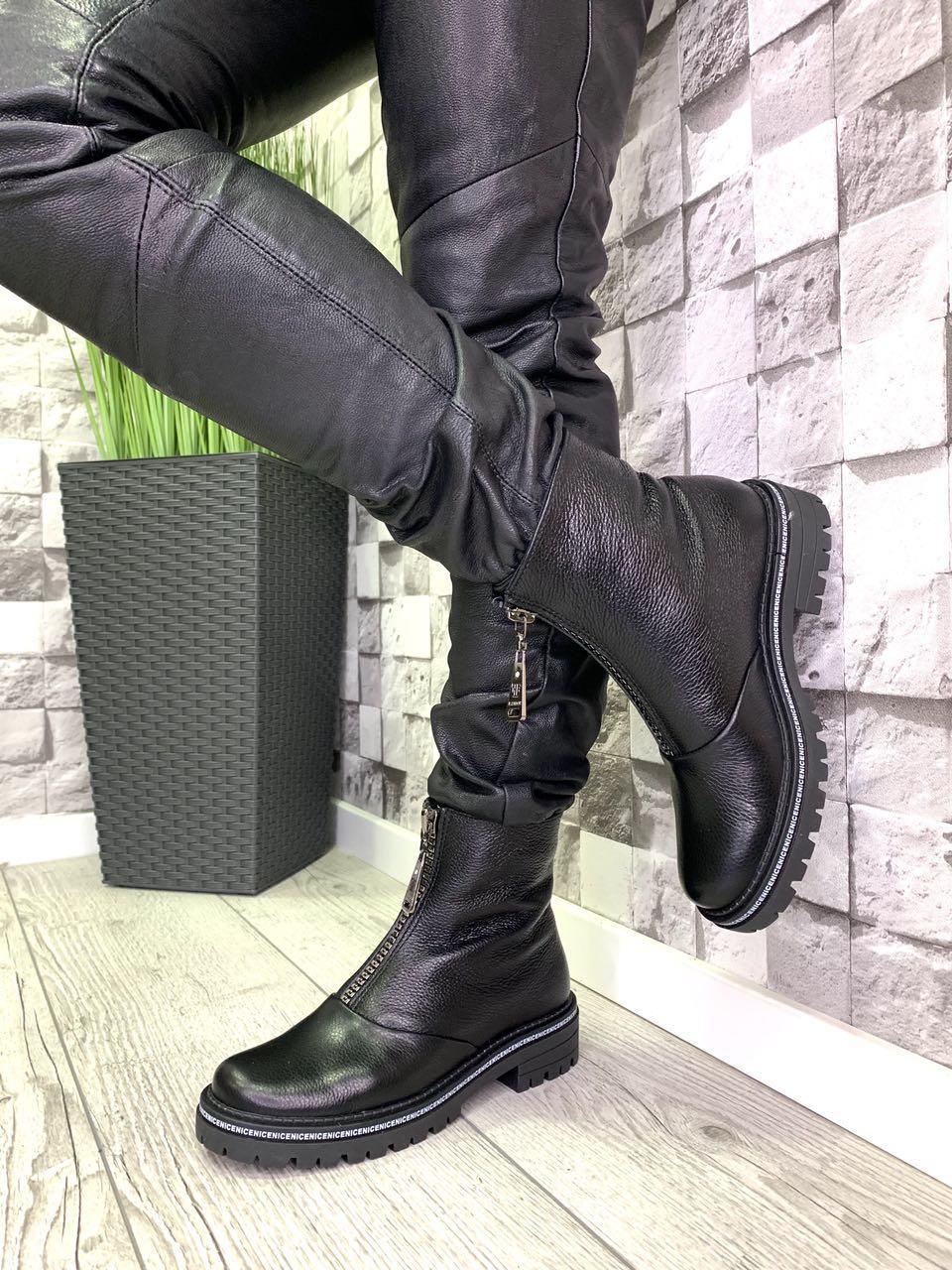 Женские ботинки из натуральной кожи флотар черные демисезонные