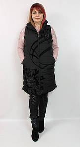 Турецкая стеганая женская жилетка со стразами, размеры 50 52 54
