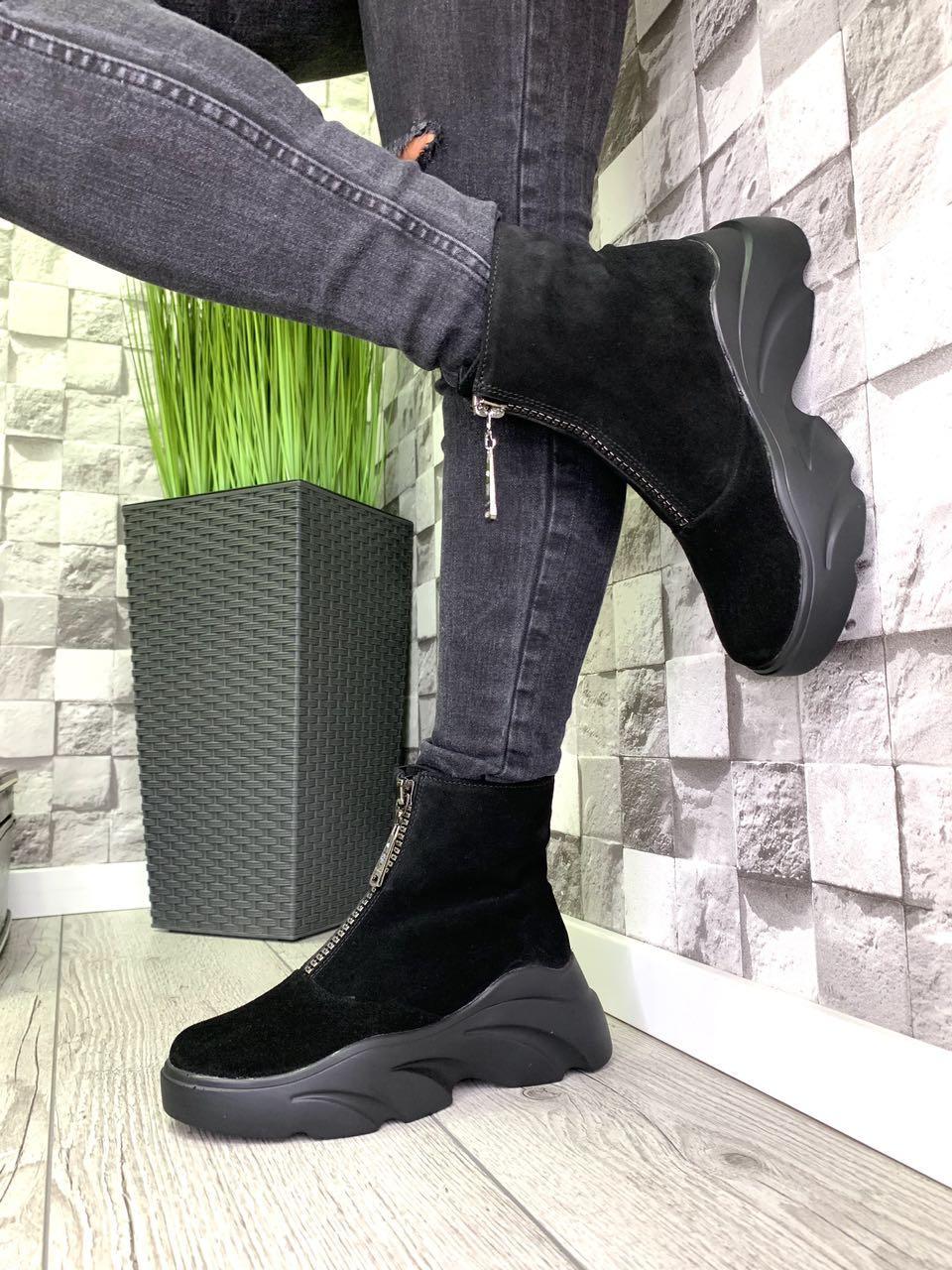 Ботинки из натуральной замши зима черные
