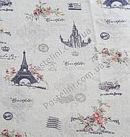 Гардина тюль лен Париж Прованс серый P-2010 с утяжелителем, Ткань