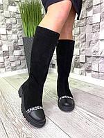 Высокие женские замшевые сапоги черные еврозима, фото 1