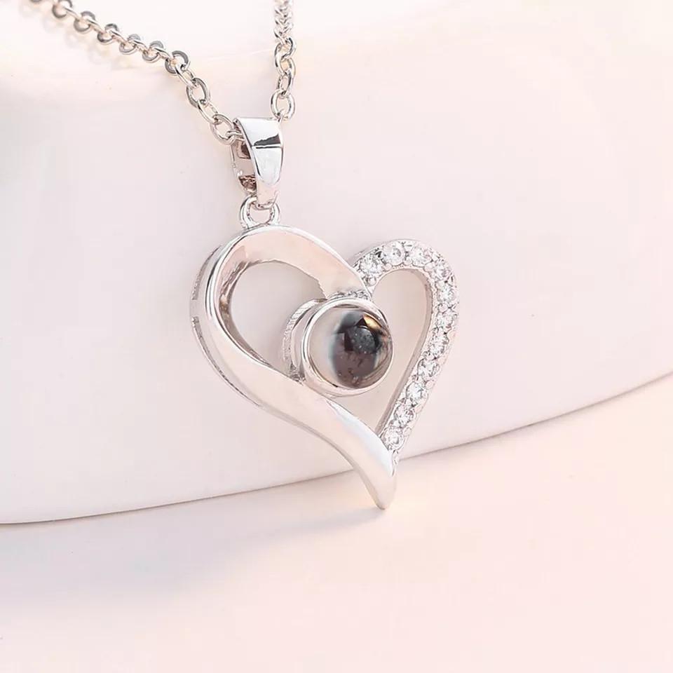 "Кулон Сердца ""Я тебя люблю"" на 100 языках мира + подарочная коробочка с розами.033"