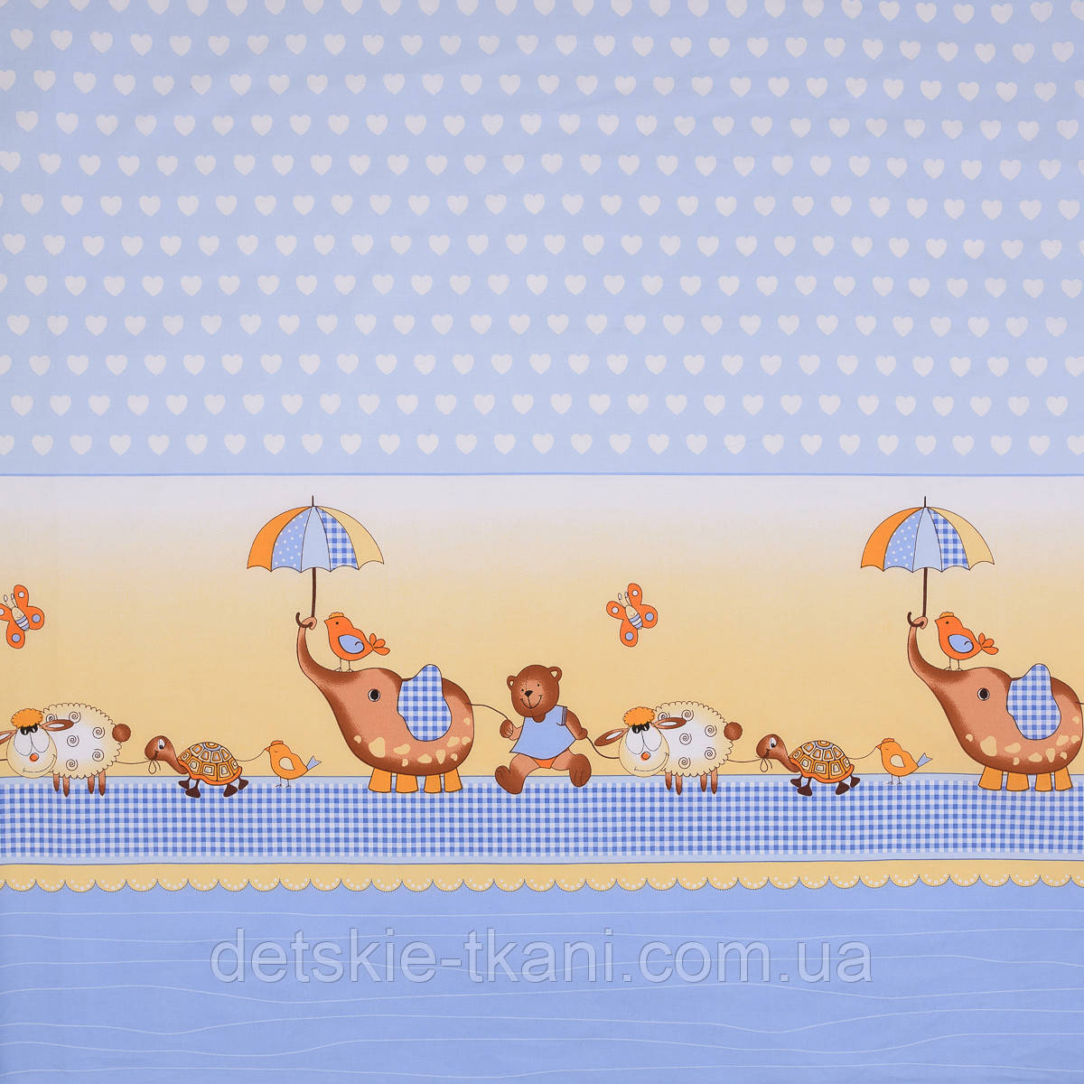 """Лоскут ткани  для детской постели с набивным рисунком """"слоник с зонтиком"""" цвет голубой, размер 78*36 см."""