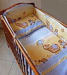"""Лоскут ткани  для детской постели с набивным рисунком """"слоник с зонтиком"""" цвет голубой, размер 78*36 см., фото 2"""