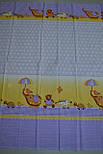 """Лоскут ткани  для детской постели с набивным рисунком """"слоник с зонтиком"""" цвет голубой, размер 78*36 см., фото 4"""
