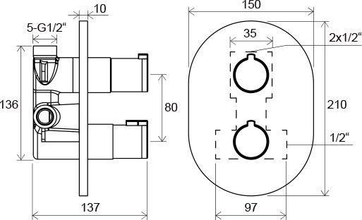 Термостатичний змішувач прихованого монтажу ванна/душ Chrome