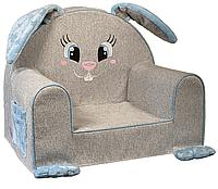 Мягкое детское кресло «Зайка» с голубыми ушками, водоотталкивающая ткань