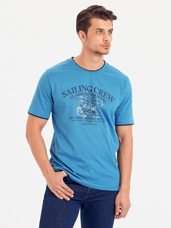 Голубая мужская футболка LC Waikiki / ЛС Вайкики Saling Crew