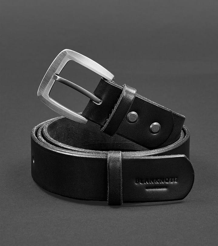 Ремень кожаный мужской черный 3,3 см (ручная работа)