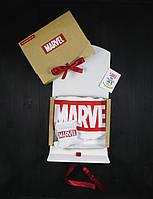 """Подарочный набор мужской. Футболка белая с принтом """"Marvel"""", носки с принтом """"Marvel"""""""