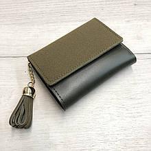Замшевый мини кошелек с украшением кисточкой (0833) Зеленый