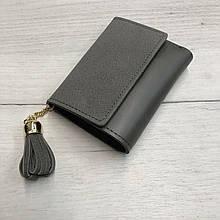 Замшевый мини кошелек с украшением кисточкой (0833) Серый