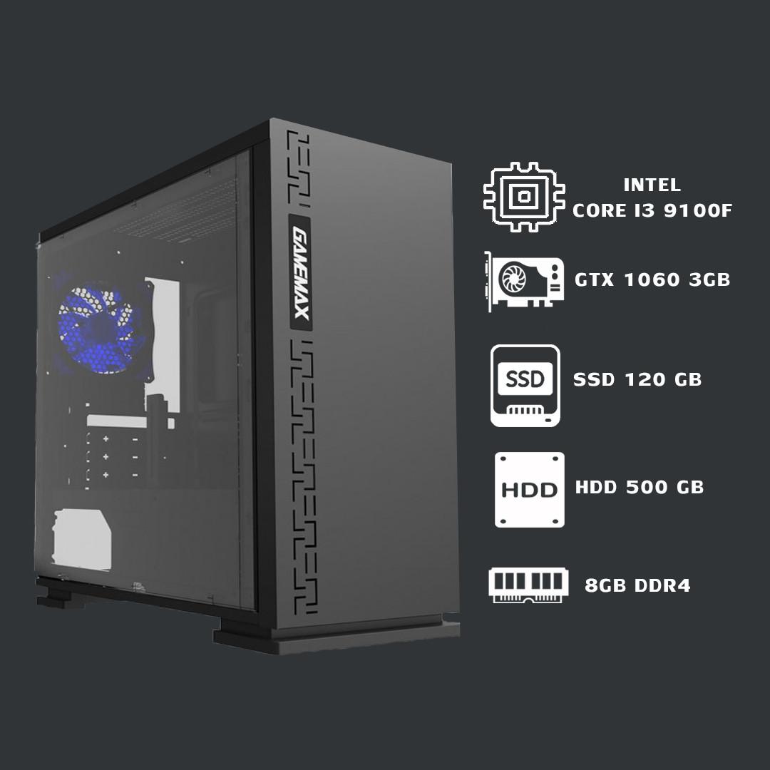 Игровой системный блок core i3 9100f+gtx 1060 3гб+ddr4 8gb