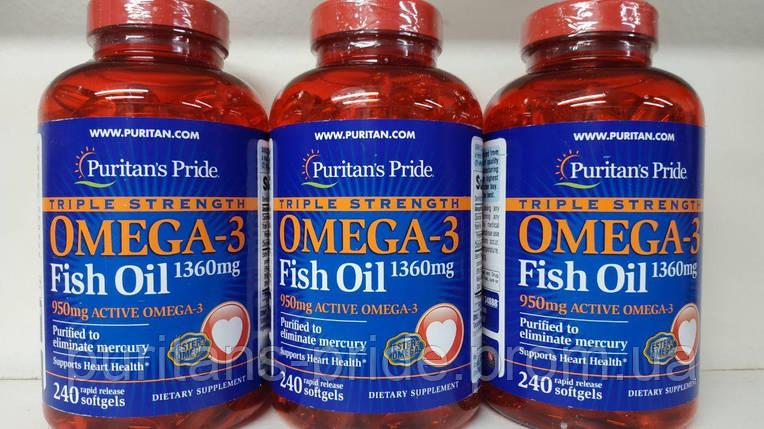 Омега-3 Риб'ячий жир, Puritans Pride Omega-3 Fish Oil 1360 mg (950 mg Active Omega-3) 240 softgels, фото 2