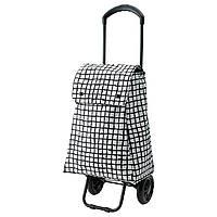 КНЕЛЛА Сумка хозяйственная на колесиках, черный/белый, 40330503, ИКЕА IKEA, KNALLA