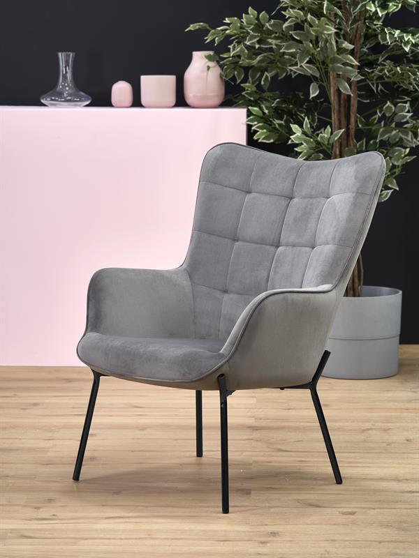 Кресло CASTEL серый/черный (Halmar)