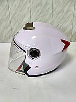 Мото шлем открытый со встроенными солнцезащитными очками IBK белый глянцевый размер S(55-56)