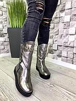 Женские кожаные сапоги зима никель, фото 1