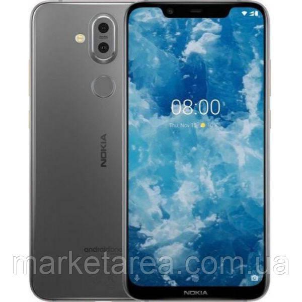 Смартфон серебристый с функцией NFC и двойной камерой на 2 сим карты Nokia 8.1 TA-1119 4/64Gb silver