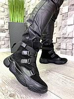 Женские зимние ботинки из натуральной замши черные, фото 1