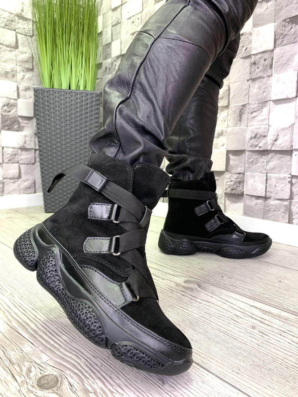 Женские зимние ботинки из натуральной замши черные