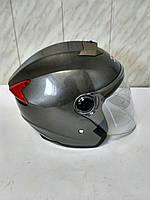 Мото шлем открытый со встроенными солнцезащитными очками IBK темно-серый металлик  р. S(55-56)