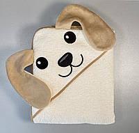 """Детское полотенце для купания с уголком """"Собачка"""", бежевое, размер 100х120 см"""
