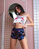 Женская синяя шелковая пижама Фламинго опт и розница, фото 1