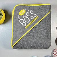"""Полотенце-уголок для новорожденных """"The boss"""", тёмно-серый с жёлтым кантом, размер 80х90 см"""