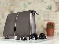 Стильная женская сумка серебристая вместительная Pretty Woman из экокожи, фото 1